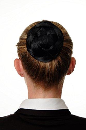 WIG ME UP - Haarknoten Dutt Haarteil aufwendig geflochten Brautschmuck Tracht Steck-Kamm Haarnadel Schwarz Q399D-1