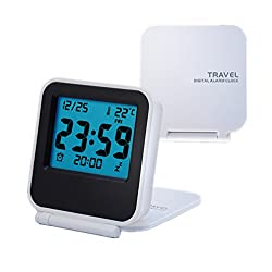 Travel Clock,eBoTrade Alarm Clock Battery Operated Portable Digital Desk Clock White