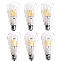 Homestia LED Clear ST64 6W110V Warm Lighting Filament High Operating Life Antique Edison Style Bulb(6pack)