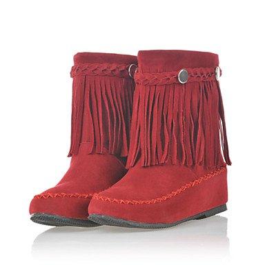 Botas de Mujer Otoño Invierno Comfort polipiel vestir casual talón plano Borla caminando Brown