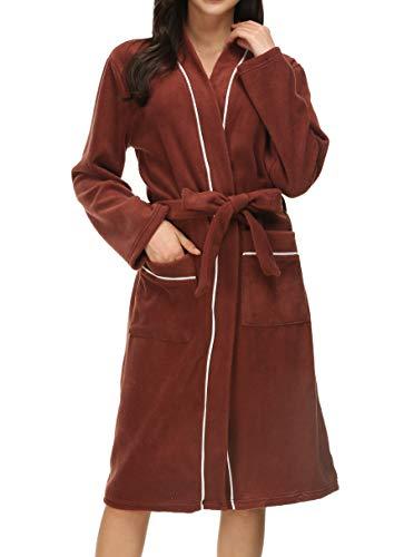 Invug Women Winter Kimono Spa Robes Homewear Trim Fleece Bathrobe with Pockets Brown S