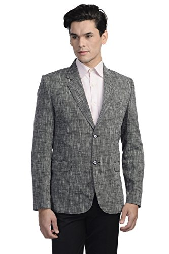 - WINTAGE Men's Linen Two Button Notch Lapel Blazer Coat - Black,42 Long
