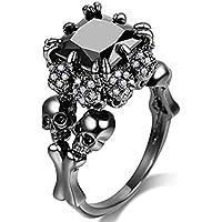 Jude Jewelers Women Black Skull Gothic Cocktail Party Halloween Biker Ring