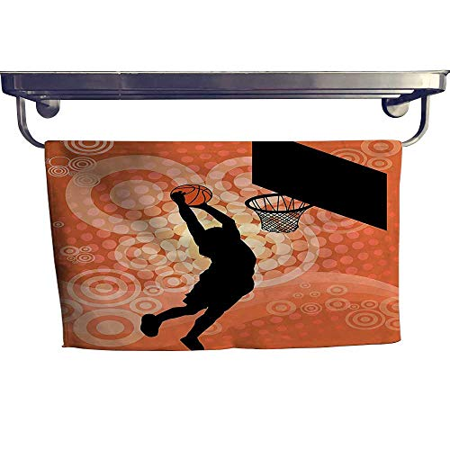 - HoBeauty home Pool Gym Towels,Silhouette of A Basketball Player Athlete Competition Championship Game Orange B,Good Ideal for The Kid's Room, a Guest Room W 27.5