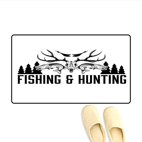 """Price comparison product image Door-mat Hunting and Fishing Vintage Emblem Design Antler Horns Mallard Pine Tree Bathroom Mat for Tub Non Slip Black and White 24""""x36"""""""
