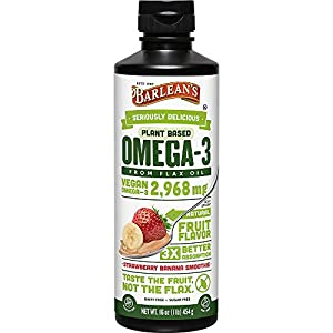 Barlean's Seriously Delicious Omega-3 Flax Oil, Strawberry Banana Smoothie, 16-oz