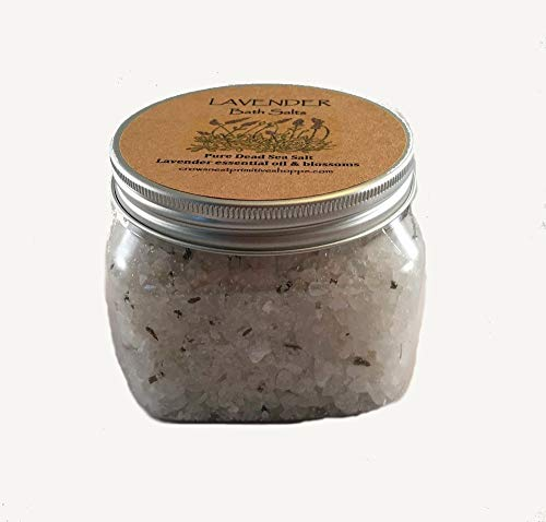 (Pure Lavender Dead Sea Bath Salts made with French Lavender essential oil Smells absolutely Wonderful. Soothing & Relaxing! 16 ounce container.)
