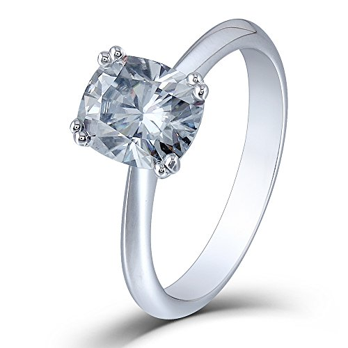 DOVEGGS 2ct 7X8mm Cushion Cut 2.6mm Width 8 Prongs Lab Grown Moissanite Engagement Rings Platinum Plated Silver (Lifetime Platinum Rings)
