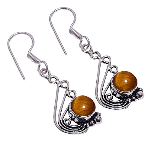 (SilverArt Handmade Earring Tiger Eye 925 Sterling Silver Plated Jewelry for Womens and Girls )
