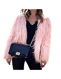 EVEDESIGN Women's Shaggy Faux Fur Coats Solid Color Long Sleeve Short Outwear Coat Jacket