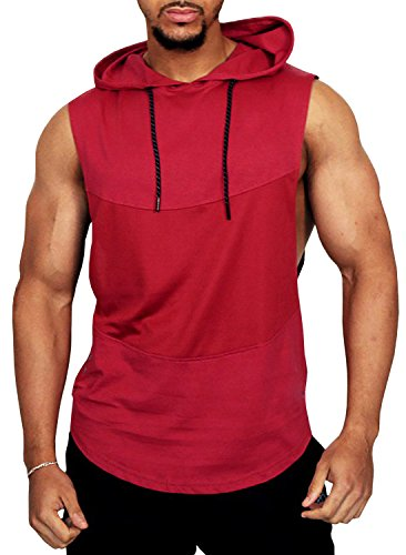 PAIZH Men's Sports Mesh Tank Top With Hooded Gym Workout Sleeveless Hoodies (L,Red)