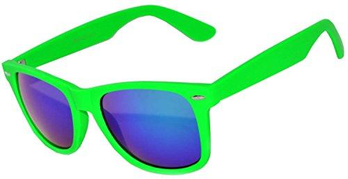 1 Pair Mirrored Reflective Blue Lens Sunglasses Green Matte Frame Horn Rimmed - Green Blue Reflective Sunglasses