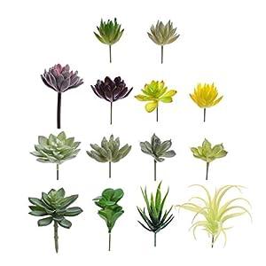 Convenient Creations Artificial Succulent Plants 14 pcs Faux Succulents, Fake Plants for Decoration, Shelf Decor, Wreath or Terrarium - Realistic Fake Succulents, Mini Air and Aloe Plant and More 42