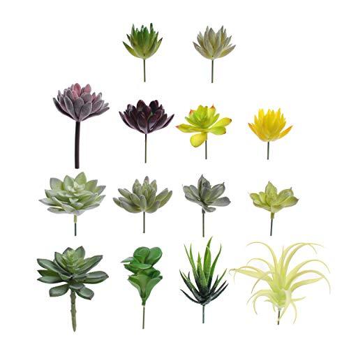 Convenient Creations Artificial Succulent Plants 14 pcs Faux Succulents, Fake Plants for Decoration, Shelf Decor, Wreath or Terrarium - Realistic Fake Succulents, Mini Cactus, Aloe Plant and More