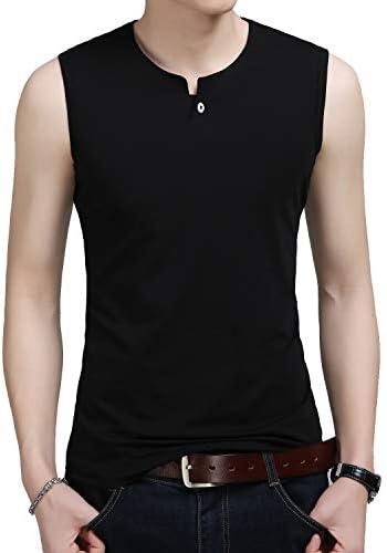 メンズ タンクトップ ノースリーブ Tシャツ ヘンリーネック 丸首 トップス 吸汗速乾 スポーツ フィットネス ベーシック 無地 綿 6色展開
