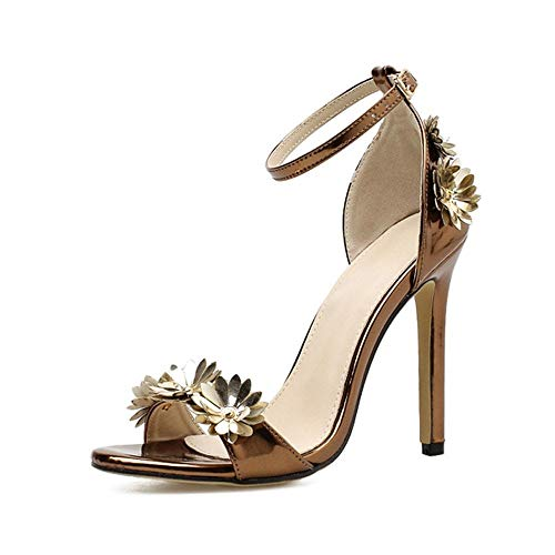 7 Sandalias Tacones 6 Mujer Zapatos Urtjsdg Sandalias Aguja Altos nbsp;verano Baile Tacón A Metálicos Mano De Flor 5 Bronce Hechos wq1wSFT