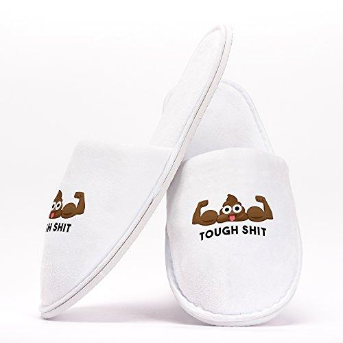 Tough S Poop Emoji Pantuflas como Regalo Original para Despedidas de Soltera Bodas Cumpleaños o Viajar de Talla Única