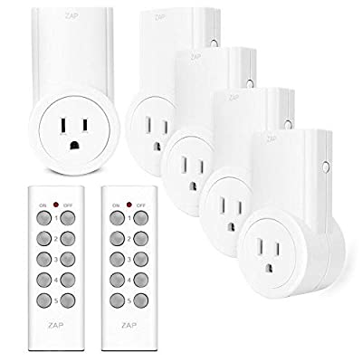 Etekcity Remote Control Outlet Kit Wireless Light Switch for Household Appliances, Pair Freely, Up to 100 ft. Range, FCC ETL Listed, White (Learning Code, 5Rx-2Tx)