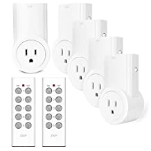 Etekcity Programmable Wireless Remote Control Power Outlet On/Off Switch Learning Code,5 Outlets and 2 Remotes Included, White