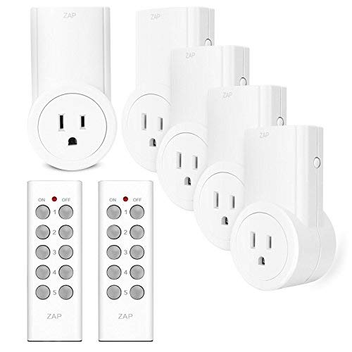 Etekcity Remote Control Outlet Kit Wireless Light Switch for Household Appliances, Unlimited Connections, Up to 100 ft. Range, FCC Certified, ETL Listed, White (Learning Code, 5Rx-2Tx)