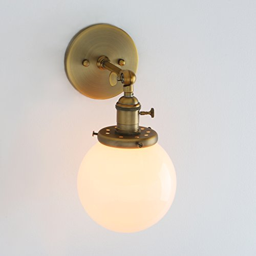 Permo Vintage Industrial Wall Sconce Lighting Fixture with Mini 5.9'' Round Globe Milk White Glass Hand Blown Shade (Anqitue) by Permo (Image #5)