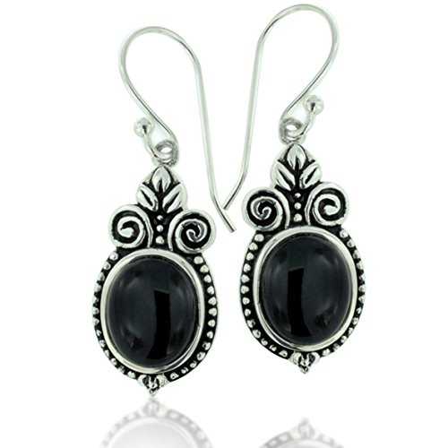 925 Oxidized Sterling Silver Ornate Oval Black Onyx Gemstone Dangle Earrings - Oxidized Black Onyx