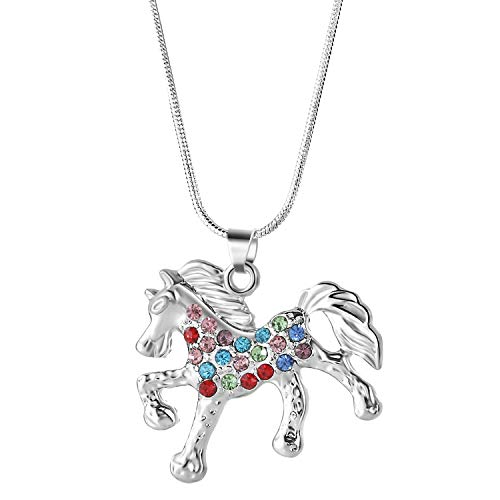 Nimteve Girls Necklaces Silver Tone Multicolored Crystals Horse Pendant Pony Mustang Charm Necklace for Little Girls 18 Inches