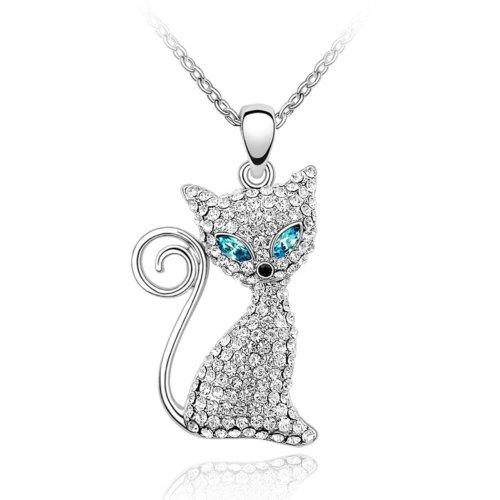 MARENJA-Cristal-Regalos-Navidad-Collares-Mujer-Gato-Chapado-en-Oro-Blanco-Cristal-Claro-Ajustable-405cm