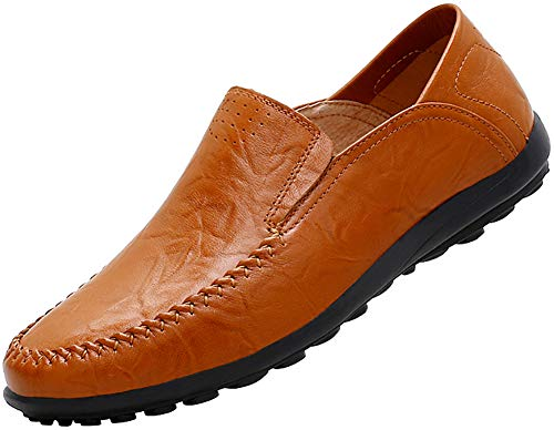 Boleone Men's Leather Casual Slip-on Loafer Driving Shoes 1887-Brown40