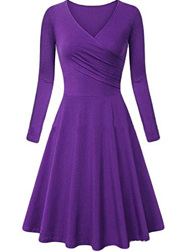Classic Dress Color Pure Womens Line A Comfy Sexy Hem Top Big Tunic Purple tETPwpqwa