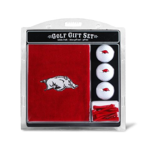 (Team Golf NCAA Arkansas Razorbacks Gift Set Embroidered Golf Towel, 3 Golf Balls, and 14 Golf Tees 2-3/4