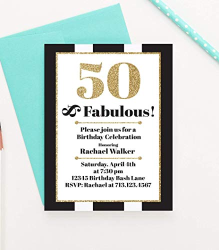 50 and Fabulous Birthday Invitation, 50 and Fabulous Birthday Invite, Milestone Birthday Invitation, Milestone Birthday Invite, Your choice of Quantity and Envelope Color