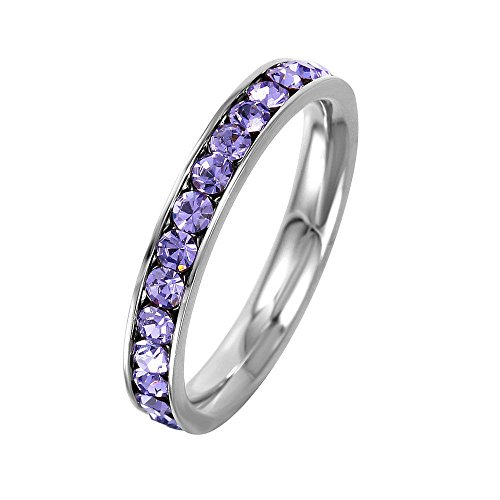 - 3mm Stackable Stainless Steel Eternity Band Ring w/ Crystal Birthstones (JUNE-ALEXANDRITE COLORED, 6)