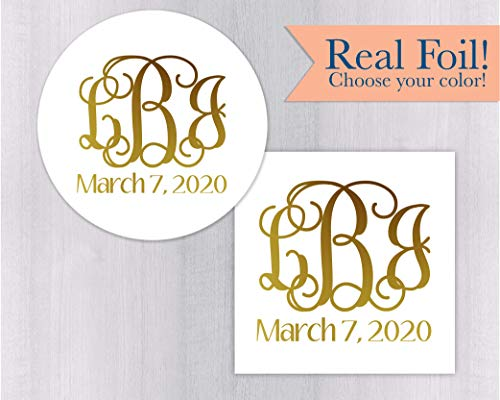Monogram Stickers, Gold Foiled Monogrammed Stickers,Wedding Favor Stickers with Real Gold Foil ()