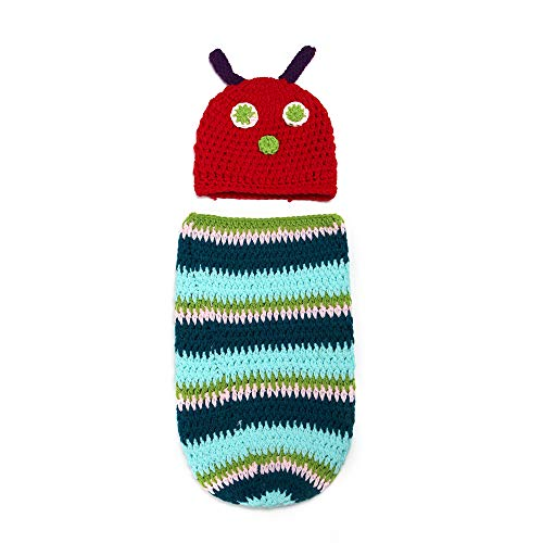 Tcplyn 1Set Infant Baby Lovely Caterpillar Clothes Handmade Crochet Baby Costume Creative Photo Props for Boys and Girls]()