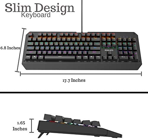 Philip RGB LED Backlit Mechanical Gaming Keyboard with Anti-Ghosting Full Key N-Rollover-Metal Base with Clicky Blue Switches for Windows, Gaming, PC 41iTu8LLKPL