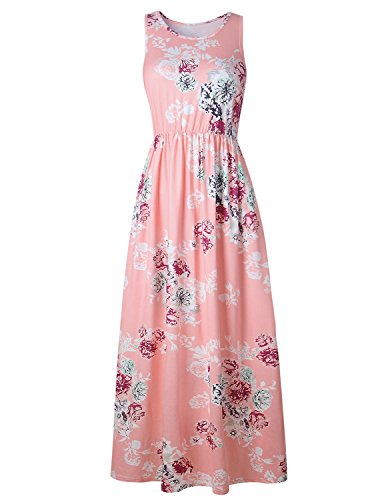 MODETREND Mujer Vestido Playa Largo de Estampado Flores Maxi Vestido de Fiesta Playa Vacaciones Rosa