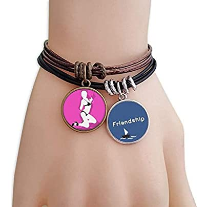 Ruirui Cottage Pink Bikini Beauty Woman Friendship Bracelet Leather Rope Wristband Couple Set Estimated Price -