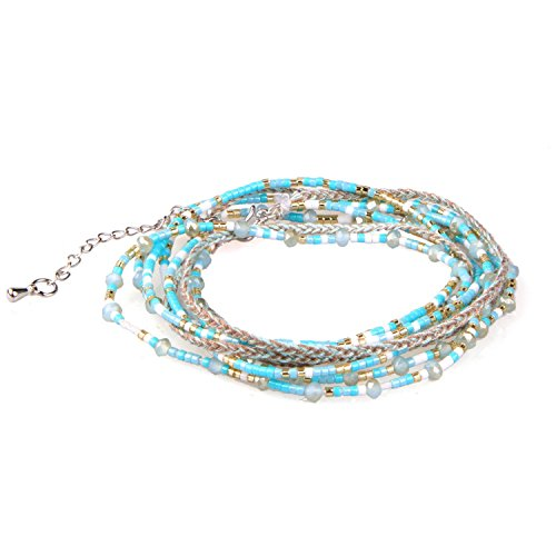 KELITCH Turquoise Crystal Beded 3 Wrap Bracelet Handmade Multi Strand necklaces New Jewelry (Strand Three Turquoise Necklace)