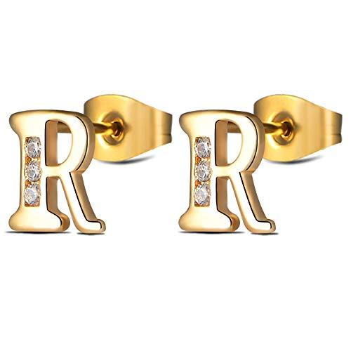 Gold Initial Letter Studs Earrings R for Women Girls Tiny Stainless Steel Hypoallergenic Sensitive Ears -
