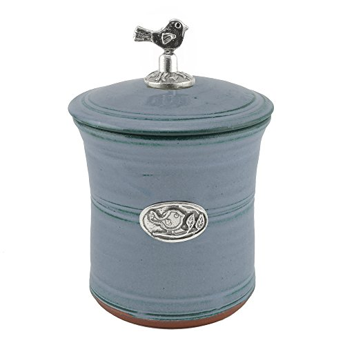 Oregon Stoneware Studio Bird Garlic Pot with Pewter Finial, Light Blue Flow Blue Pottery