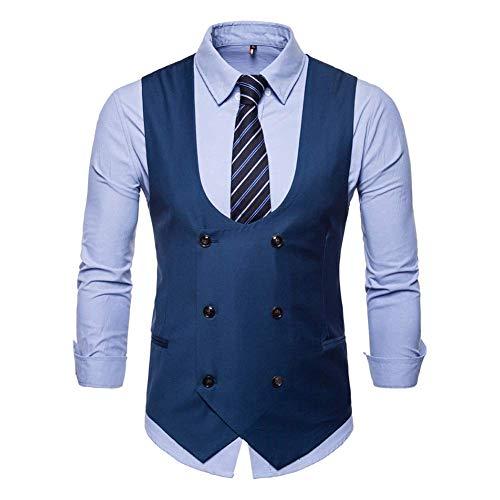 Homme Vêtements Manches Protection Encolure Bleu Sans De Coupe Manches Gilet Hommes Dégagée Xxl Pour Veste Noir Slim Costume Taille Monsieur robe coloré Noir wqtI4OW