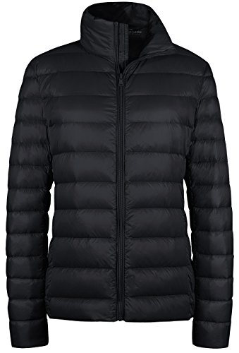 (Wantdo Women's Packable Ultra Light Weight Short Down Jacket Black)