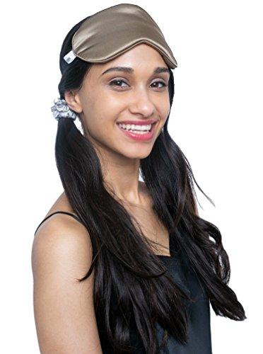 MYK Pure Mulberry Silk Beauty Sleep Eye Mask, Blindfold, for Sleeping, Travel, with Adjustable Strap, Caramel by MYK