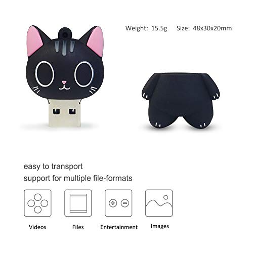 LEIZHAN Cute USB Flash Drive 16GB Cartoon Cat Pendrive Memory Thumb Stick USB2.0 Animal Jump Drive Character Data Storage Gift USB Disk Pendrive with Key Chain