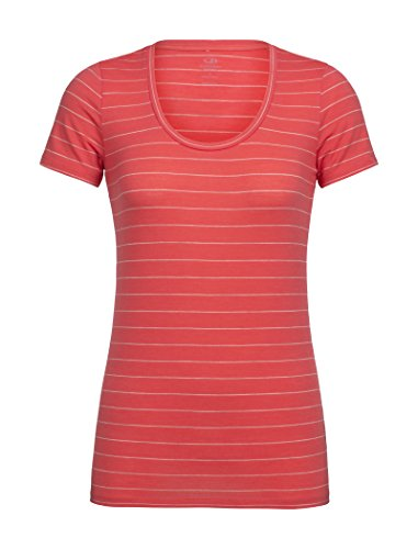 Icebreaker Merino Women's Tech Lite Scoop Neck T-Shirt w/Graphic, New Zealand Merino Wool, Stripe/Poppy Red/Fawn Heather, X-Large
