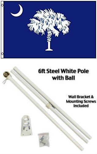 - ALBATROS 2 ft x 3 ft 2x3 State of South Carolina Flag White Pole Kit Gold Ball Top for Home and Parades, Official Party, All Weather Indoors Outdoors