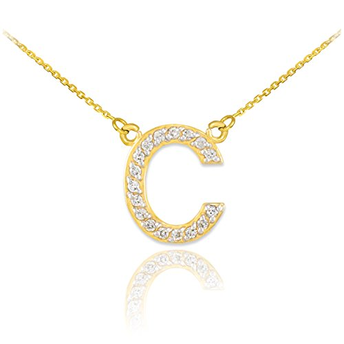 Letter Diamond Cut Initial (Fine 14k Yellow Gold Diamond-Studded Initial Letter C Pendant Necklace, 16