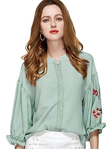 WDIRARA Women's Floral Embroidered Lantern Half Sleeve Casual Crochet Top Blouse Turquoise ()