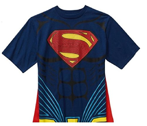 [DC Comics Superman Costume with Cape Boys Graphic T-Shirt (Medium 8)] (Comic Superman Costume)